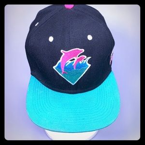 PINK + Dolphin Wave NEON Classic Hat Cap TEAL RARE